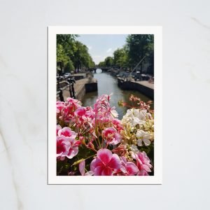 Amsterdam canal and flowers postcard