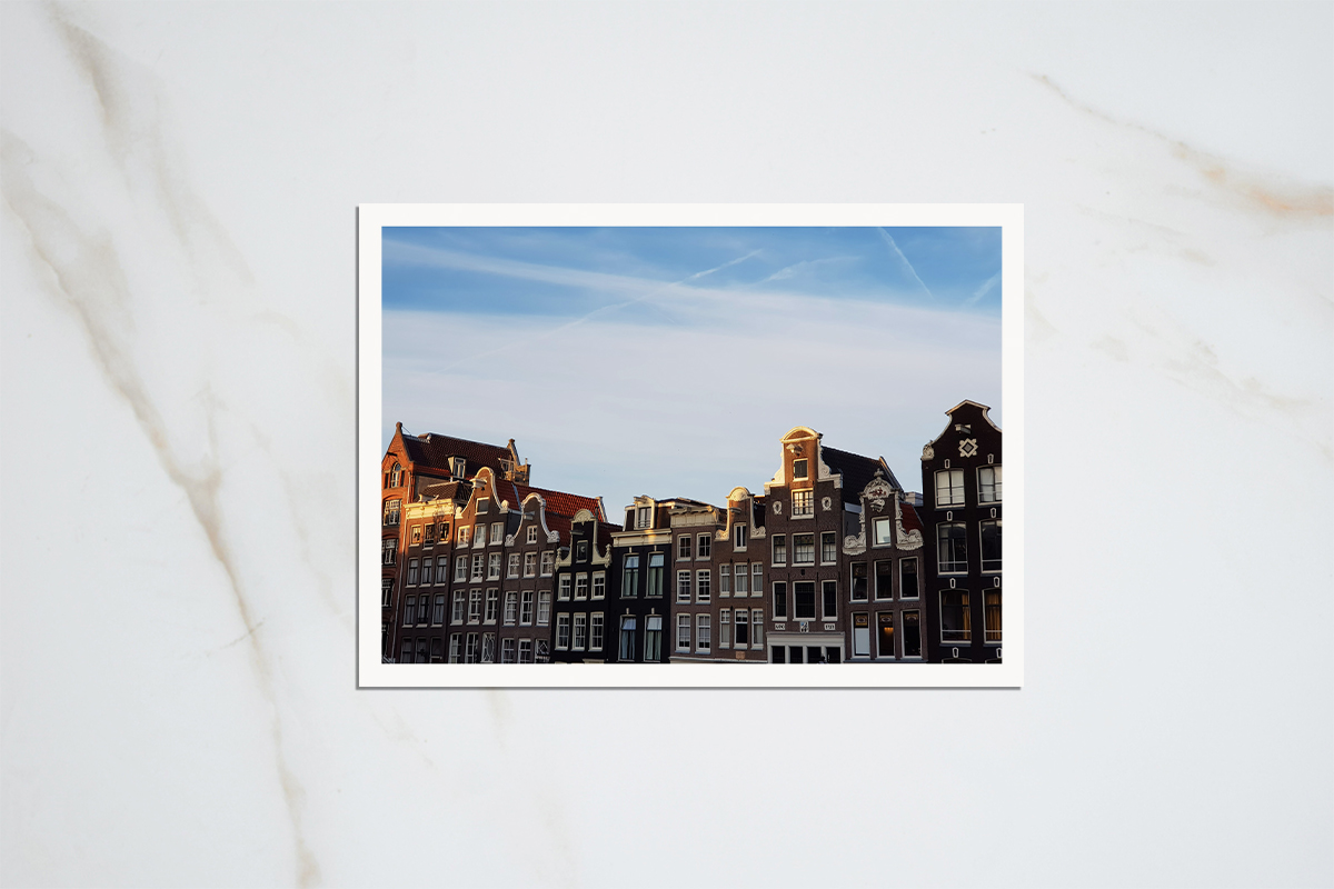 Amsterdam canal houses postcards