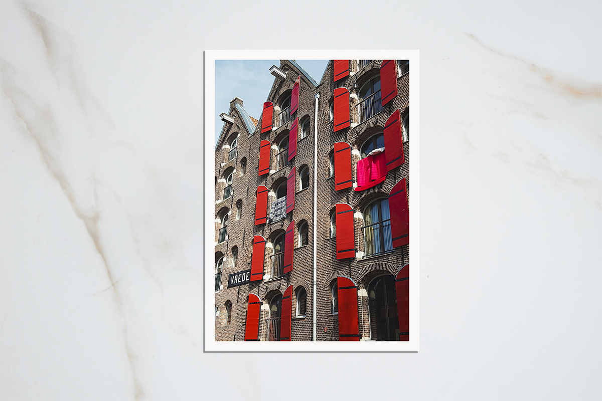 Amsterdam red shutters warehouse postcard