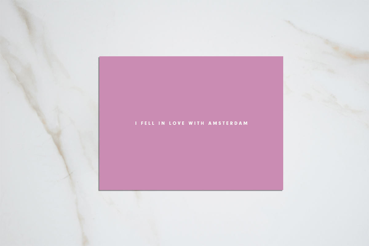I fell in love with Amsterdam - light purple postcard