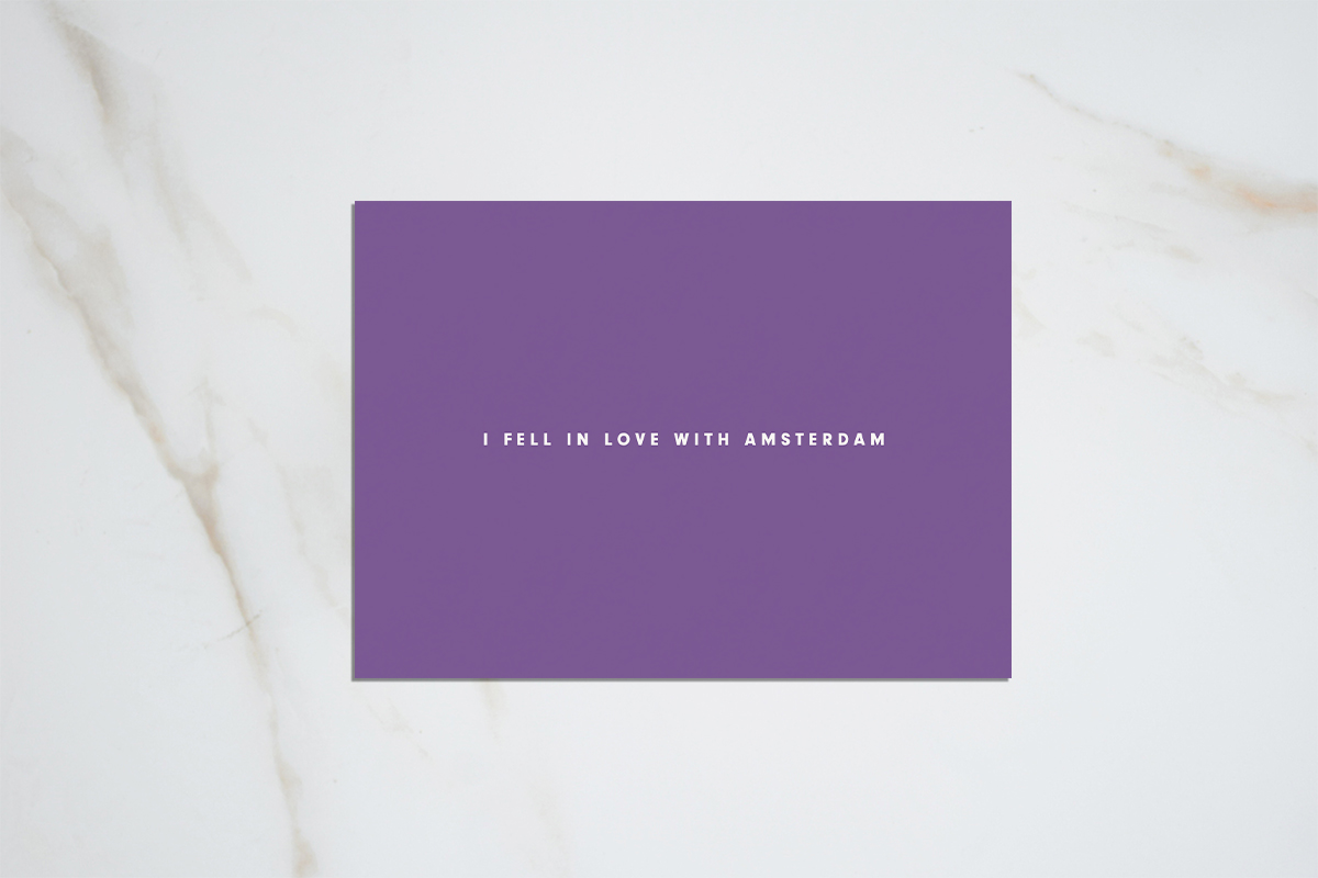 I fell in love with Amsterdam - purple postcard
