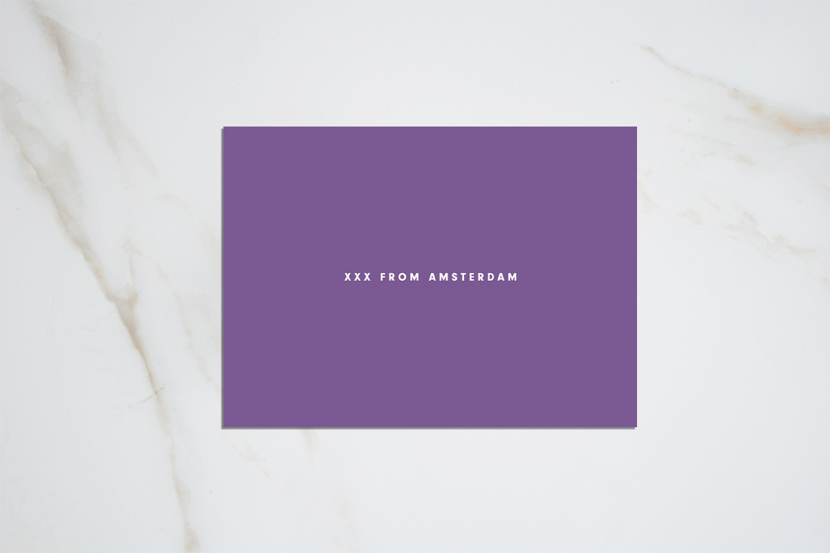 XXX from Amsterdam - purple postcard